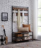 Hombazaar 3-in-1 Entryway Coat Shoe Rack, Entry Hall Tree Bench with 3 Tier Storage Shelves, Wood Furniture with Metal Frame, 7 Hooks for Garment Coats Hats Keys Umbrella Rack