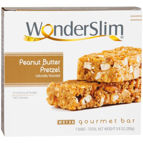 WonderSlim Gourmet 10g Protein Diet Bar- Peanut Butter Pretzel (7 Servings/Box)