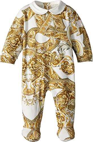Versace Kids Unisex All Over Print Footie Heritage (Infant) Gold 3 - Versace Girl