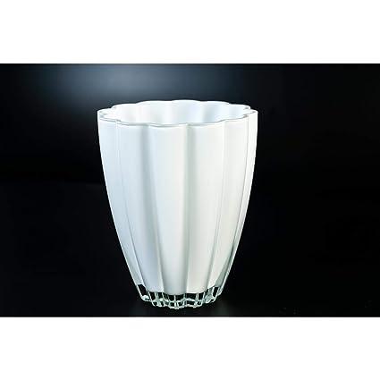Pequeño florero de cristal / Jarrón de mesa BEA, blanco, 17 cm, Ø ...