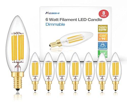 Hizashi 8 Pack 5000K Fully Dimmable 90+ CRI 60W Equivalent E12 650 Lumen Deep Dimming B10 LED Filament Candelabra Bulbs Retro Shape Dimming Led