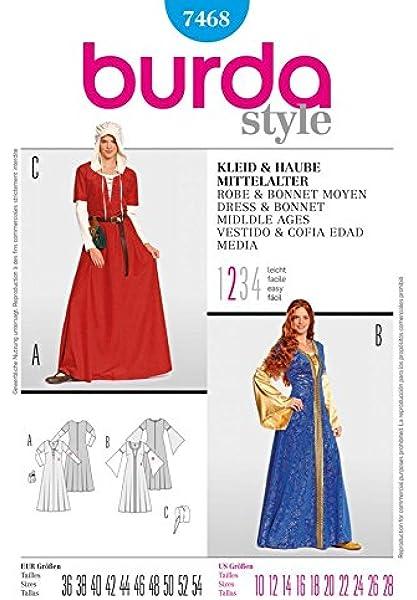 Burda 7468 - para mujer patrón de costura para coser un vestido y ...