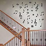 28 Vinyl MUSIC Musical NOTES Variety Pack Wall Decor Decal Sticker On Wall Decal Sticker Home Decor Art Mural