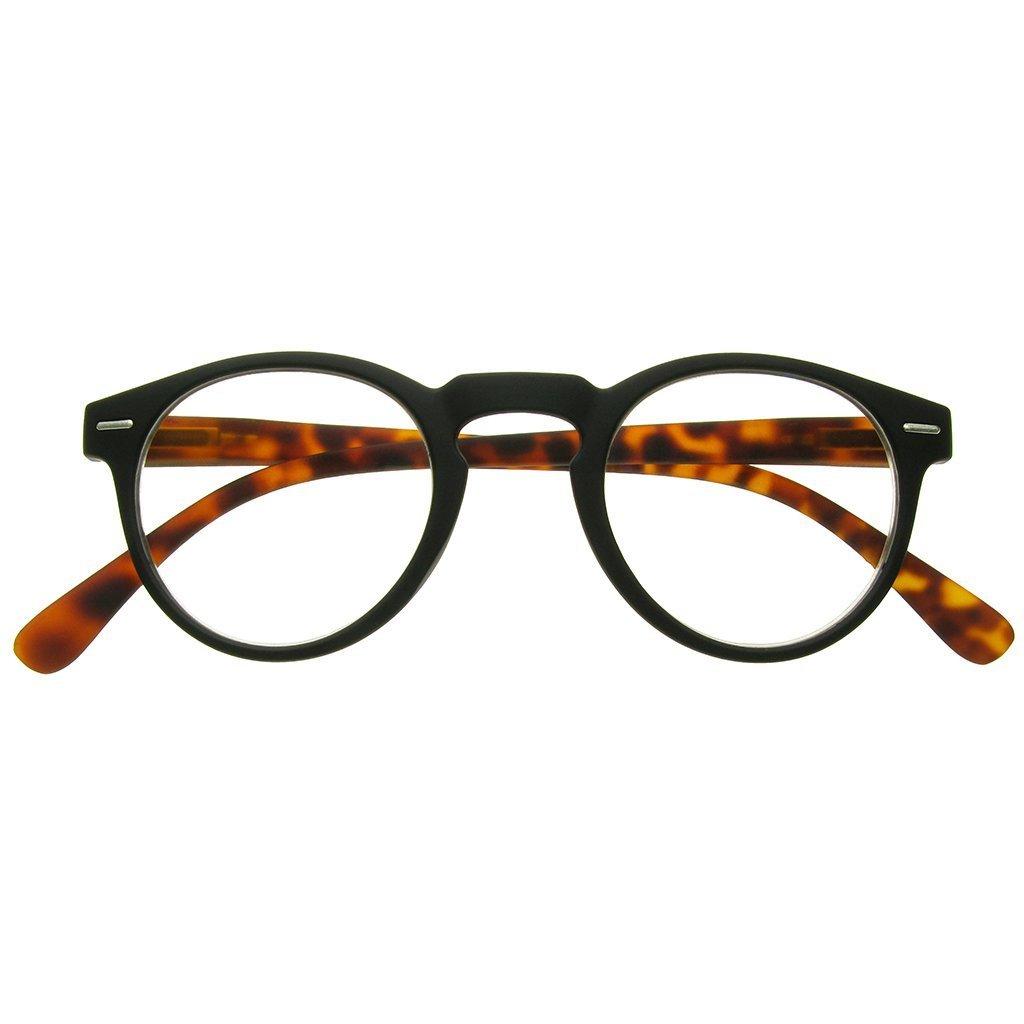 79eb426efd Amazon.com  GL2193 Oxford Matt Black   Tortoiseshell Round Geek Style  Unisex Reading Glasses +1.0