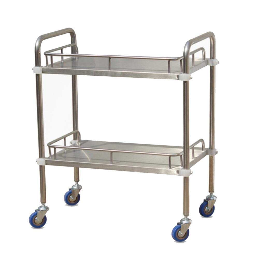 ZHFHA Trolley - Double Stainless Steel Medical Laboratory Equipment Cart 2-Layer Silent Trolley Four-Wheel Beauty Salon Clinic Silver Multi-Size (Size : 50cm)