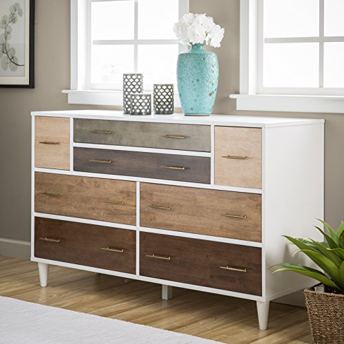 Modern 8-Drawer Dresser, Metal antique pulls, Metal Glides on Drawers, Rubber Wood, Veneers and MDF, Sturdy and Durable, Functional and Eclectic White Frame With Grey and Oak Front Finishes