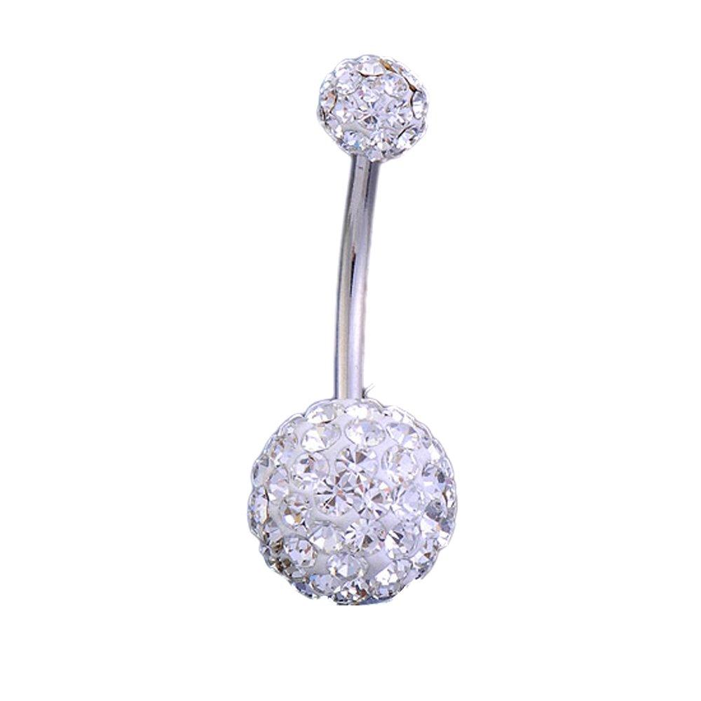JSDDE Piercing nombril en cristal transparent par BodyTrend 1.6mm boule cristal 5mm/10mm
