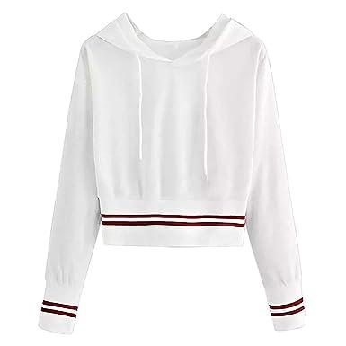 meilleures baskets 1e25e d7443 Pull Femme Sweat-Shirt Simple Blanc,Koly Casual Tops Manches ...