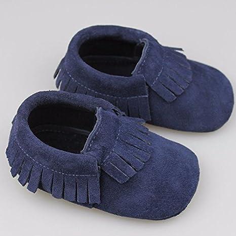 Zorux - Popular piel auténtica bebé Mocasines Suela suave flecos bebé niña zapatos multicolor Bebes niños bebés zapatos para 0 - 24 m azul marino Talla:0~6 ...