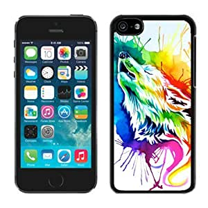 Cute Rainbow Wolf Iphone 6 plus 5.5'' Cases Black Cover for Teen Girls Graceful Cell Phone Protector