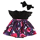 MIOIM 2pcs Kids Toddler Baby Little Girls Sisters Ruffled Floral Jumpsuit Romper Dress Outfits Set (12-18M, Little Sister)