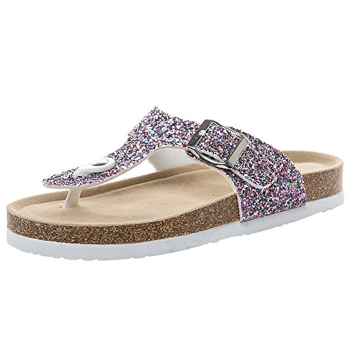 ♚Deadness-Shoes Comfort Low Sequin Easy Slip On Sandal - Casual Cork Footbed Platform Sandal Flat - Trendy Open Toe Slide Sandal Flip Flops Purple