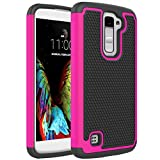 LG K10 Case, LG Premier LTE Case, Firefish Hybrid Heavy Duty Armor Cover Double Layer Protection Shock Proof Silicone and Durable PC Hard Back Shell For LG Premier LTE/ LG K10 -Rose Red