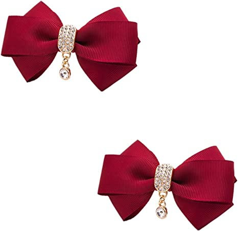 Douqu Leopard Ribbon Bow Butterfly Rhinestone Crystal High Heel Shoe Clips Removable Shoe Buckle Pairs