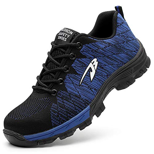 JACKSHIBO Steel Toe Work Shoes for Men Women Safety Shoes Breathable Industrial Construction Shoes Pure Blue 10 Women/8.5 Men