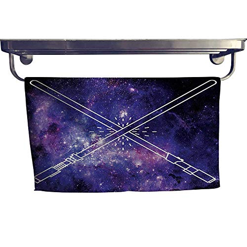 - Cotton Beach Towel, Swords Futuristic B tle Starry Fantastic Galaxy Wars Themed P Tern ,Absorbent, Machine Washable, Towel W 23.5