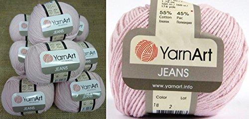 55% Cotton 45% Acrylic Yarn YarnArt Jeans Cotton Blend Thread Crochet Hand Knitting Art Lot of 8skn 400 gr 1392 yds color Light Pink 18 by Yarn Art