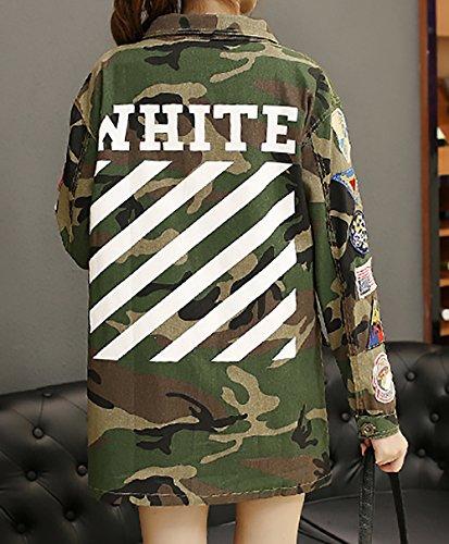 LAI MENG Mujer Camouflage Militar Vendimia Mezclilla chaquetas bolsillos Ejército chaqueta verde camuflaje