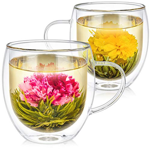 Teabloom Oversized Insulated Borosilicate Glass Mugs (17 oz / 500 ml) – Set Includes 2 Mugs + 2 Blooming Teas – Premium Quality – Lead-Free & Microwave Safe Glasses