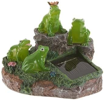 Best Season 477-38 - Piedra decorativa para jardín con luz LED solar (13 x 16 cm), diseño de ranas