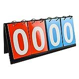 QPKUNG Scoreboard Flipper - Portable Tabletop Flip Scoreboard 14.2 X 6.5 inch - 4-digital - Football Volleyball Basketball