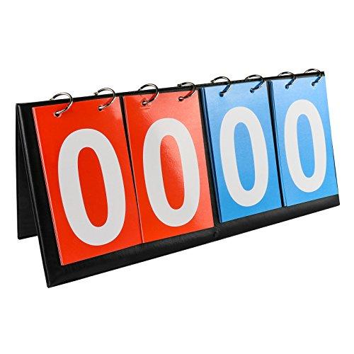QPKUNG Scoreboard Flipper - Portable Tabletop Flip Scoreboard 14.2 X 6.5 inch - 4-digital - Football Volleyball ()