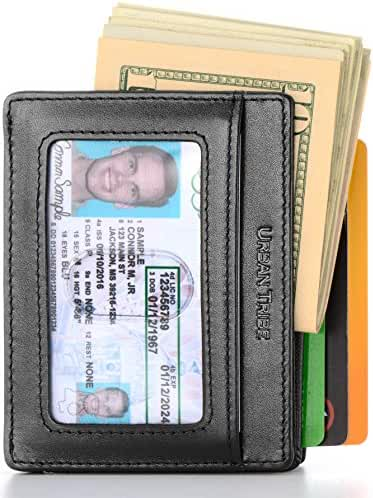 Compact RFID Card Sleeve Wallet Premium Leather Money Clip Card Holder 10 Cards