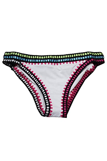 231fa5298dd43 Amazon.com  Bar III Womens Weave It Crochet Trim Bikini Swim Bottom  Separates White M  Clothing