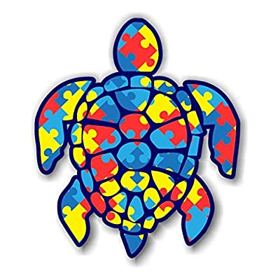 3 inch Autism Puzzle Sea Turtle Sticker for Laptops Cups Tumblers Cars and Trucks Any Smooth Surface: Automotive