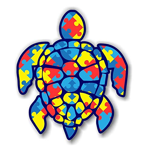 3 inch Autism Puzzle Sea Turtle Sticker for Laptops Cups Tumblers Cars and Trucks Any Smooth Surface -