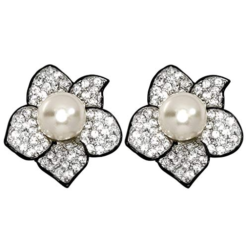 Kenneth Jay Lane, Pave Crystal Flower Clip Earring with Pearl Center, Gorgeous!! ()