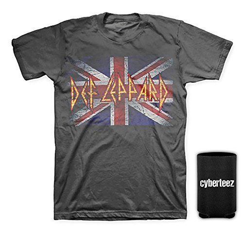 Def Leppard Union Jack - Def Leppard Vintage Union Jack Distressed Men's Gray T-Shirt + Coolie (XL)