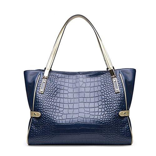 Mujer Otoño Invierno Nuevo Estilo Retro Simplicidad Moda PU solo Hombro Bolsa Bolso Blue