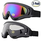 Ski Goggles, Pack of 2, Yidomto Snowboard Goggles for Kids, Boys, Girls, Youth, Mens, Womens, with UV Protection, Windproof, Anti Glare