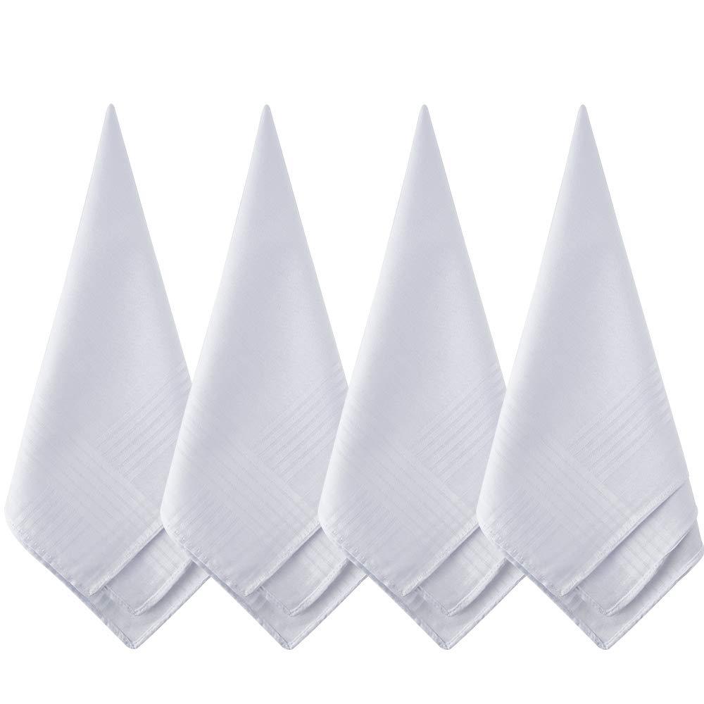 TUPARKA 12 Pack Pure White Cotton Handkerchiefs Large Pocket Squares Hankies for Men