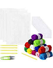 M-Aimee Set of 33 Pack Mesh Plastic Canvas Sheets Kit for Embroidery Plastic Canvas Craft Including 15 Pieces Clear Plastic Canvas, 12 Color Acrylic Yarn and Embroidery Tools