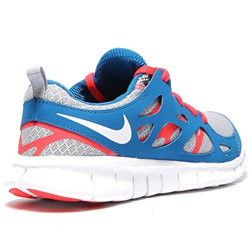 Nike Free Run 2 (GS) Laufschuhe wolf grey-laser crimson-military blue - 35,5