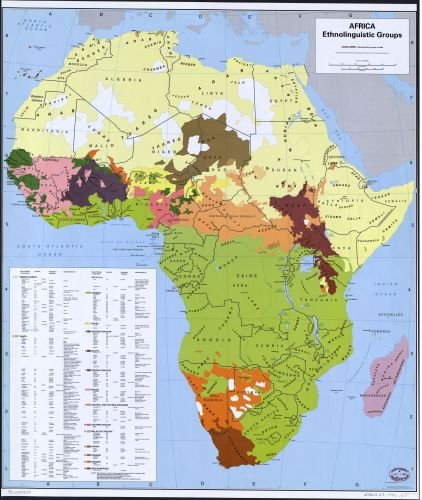 1996 Map Africa, ethnolinguistic groups. - Size: 20x24 - Ready to Frame - Africa | Africa