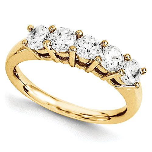 1/2 CT 14k Yellow Gold Round 5 Stone Diamond Band 0.465 (Round Five Stone Diamond Band)