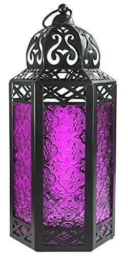 Vela Lanterns Moroccan Style Candle Lantern with LED Lights, Large, Purple -