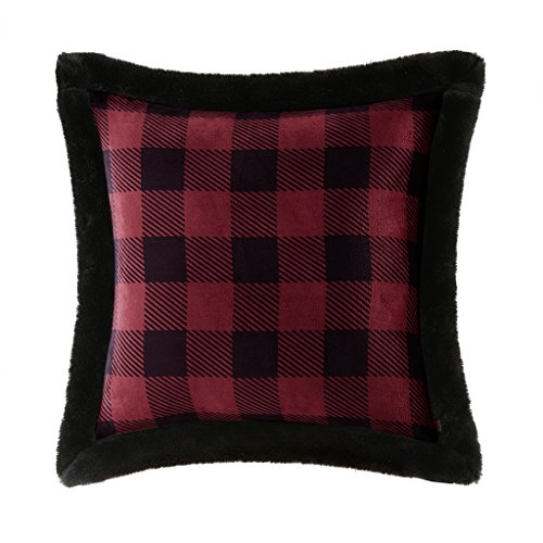 Woolrich Plush Faux Fur Accent Throw Pillow, Lodge/CabinPlaid Plush Square Decorative Pillow, 20X20, Grey