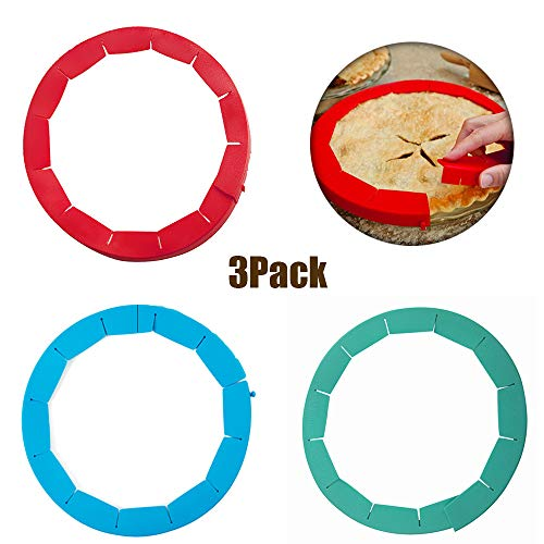 ATROPOS 3 Pack Adjustable Pie Crust Shield,Silicone Pie Protectors for Pie, Pizza,Baking.Fits 8