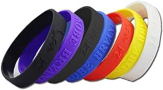 Ndier Bracciale in Silicone Basket, Set di 6 PCS Braccialetti Colorati e Elastici Stampati Kobe Bande da Polso Sport Unisex per Adulto e Adolescente