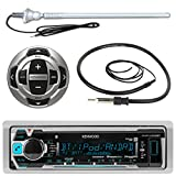 """Kenwood MP3/USB/AUX Marine Boat Yacht Stereo Receiver Player Bundle Combo w/ RC35MR Wired Remote Control, Enrock Water Resistant 22"""" Radio Antenna, Outdoor Rubber Mast AM/FM 45"""" Antenna"""