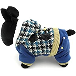 SMALLLEE_LUCKY_STORE Petmall Dog Cat Warm Fleece Lined Hooded Coat Hounds Tooth Jumpsuit, Medium, Blue
