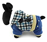 SMALLLEE_LUCKY_STORE Pet Small Dog Cat Clothes Warm Fleece Lined Hooded Coat Jacket Jumpsuit Houndstooth Blue XL