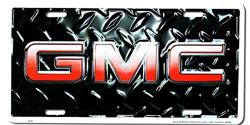 GMC Diamond Embossed background metal auto tag 6 x (Diamond Tag)