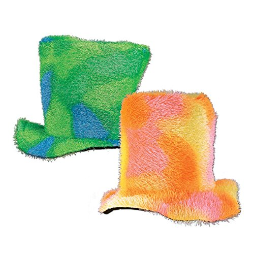 (Party Central Pack of 6 Soft Multi-Color Sixties Mod Top Halloween Costume Hats)