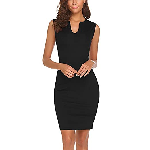 125e1085e5a Toimothcn Womens Sleeveless Wear to Work Office Dress Casuasl V Neck  Bodycon Pencil Dress (Black