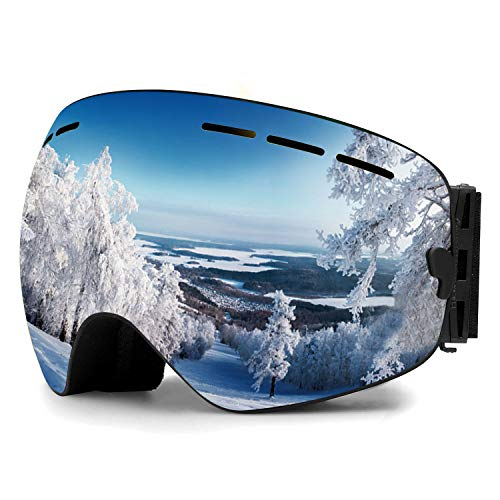 Zerhunt Ski Goggles, Snowboard Goggles Over Glasses, Anti Fog UV Protection Snow Goggles OTG Interchangeable Lens for Men Women Snowmobile, Skiing, Skating, Silver (Best Snowmobile Goggles For Night)